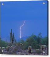 Saguaro Desert Lightning Strike Fine Art  Acrylic Print