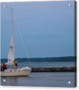 Sail Boat And Moon On Lake Ontario Acrylic Print