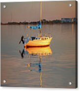 Sail Boat In Roanoke Sound 1x2 Ratio Photo Painting Img_3969 Acrylic Print