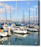 Sail Boats At San Francisco China Basin Pier 42 With The Bay Bridge In The Background . 7d7664 Acrylic Print by Wingsdomain Art and Photography
