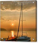 Sailboat And Sunrise Acrylic Print