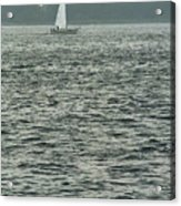 Sailboat And Waves, Piscataqua River, Maine 2004 Acrylic Print
