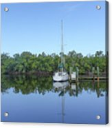 Sailboat At Dock Florida Acrylic Print