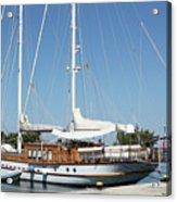 Sailboat In Harbor Summer Vacation Scene Acrylic Print