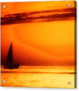 Sailboat In Orange Acrylic Print