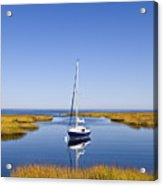 Sailboat In Salt Marsh Acrylic Print