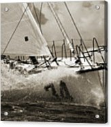 Sailboat Le Pingouin Open 60 Sepia Acrylic Print by Dustin K Ryan