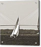 Sailboat Sailing Cooper River Bridge Charleston Sc Acrylic Print by Dustin K Ryan