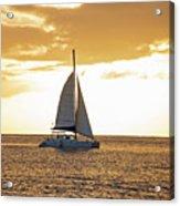 Sailboat Sailing Off Of Anse Chastanet At Sunset Saint Lucia Caribbean  Acrylic Print
