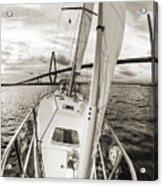 Sailboat Sailing Past Arthur Ravenel Jr Bridge Charleston Sc Acrylic Print