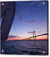 Sailboat Sailing Sunset On The Charleston Harbor  Acrylic Print by Dustin K Ryan