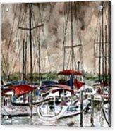 Sailboats At Night Acrylic Print