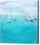Sailboats  Acrylic Print by Chaline Ouellet