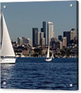 Sailboats In Seattle Acrylic Print