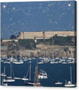 Sailboats In The San Francisco Bay Overlooking Alcatraz . 7d8080 Acrylic Print by Wingsdomain Art and Photography