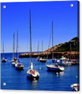 Sailboats Moored In Rockport Harbour. Acrylic Print