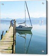 Sailing Boat And Reflection By Lake Pier Acrylic Print