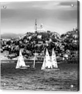 Sailing Boat  Black-and-white Acrylic Print
