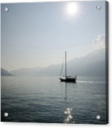 Sailing Boat In Alpine Lake Acrylic Print by Mats Silvan