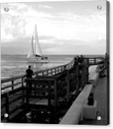 Sailing By The Old Pier Acrylic Print