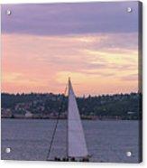 Sailing On Puget Sound At Sunset Acrylic Print