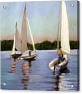 Sailing On The Charles Acrylic Print by Lenore Gaudet