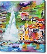Sailing Past Vernazza Italy Acrylic Print