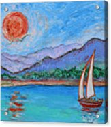 Sailing Red Sun Acrylic Print