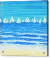 Sailing Regatta White Acrylic Print