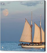 Sailing Ship With Moon Acrylic Print
