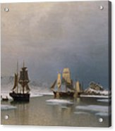Sailing Ships On Frozen Fjord Acrylic Print