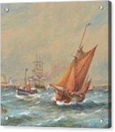 Sailing Vessels Off A Harbour Entrance Acrylic Print