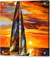 Sailing With The Sun - Palette Knife Oil Painting On Canvas By Leonid Afremov Acrylic Print