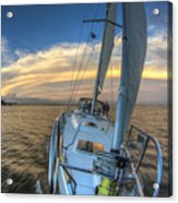 Sailing Yacht And Tropical Storm Ana Outflow  Acrylic Print