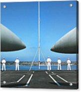 Sailors Aboard The Aircraft Carrier Uss Nimitz  Acrylic Print