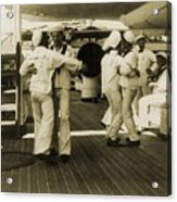 Sailors Aboard The Uss Olympia Waltzing Acrylic Print by Everett