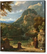 Saint Anthony Of Padua Introducing Two Novices To Friars In A Mountainous Landscape Acrylic Print