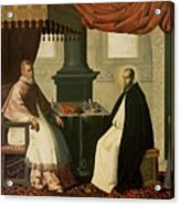 Saint Bruno And Pope Urban II Acrylic Print by Francisco de Zurbaran