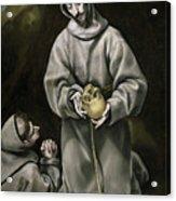 Saint Francis And Brother Leo Meditating On Death Acrylic Print