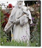 Saint Francis Statue In Carmel Mission Garden Acrylic Print