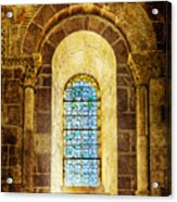 Saint Isidore - Romanesque Window With Stained Glass - Vintage Version Acrylic Print