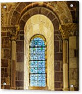 Saint Isidore - Romanesque Window With Stained Glass Acrylic Print