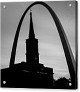 Saint Louis Skyline Silhouettes - Black And White - Usa Acrylic Print
