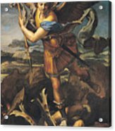 Saint Michael Overwhelming The Demon Acrylic Print
