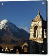 Sajama Volcano And Lagunas Church Belfry Bolivia Acrylic Print