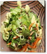 Orange Green Salad For Lunch With Pineapple Dressing Acrylic Print