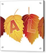 Sale Text On Fall Colors Birch Leaves Acrylic Print