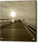 Salem Willows Pier At Sunrise Sepia Acrylic Print
