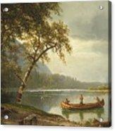 Salmon Fishing On The Caspapediac River Acrylic Print by Albert Bierstadt