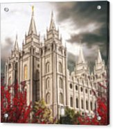 Salt Lake Temple - A Light in the Storm Acrylic Print